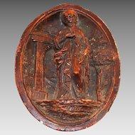 Antique Religious French Dark Brown Carved Meerschaum Devotional Saint