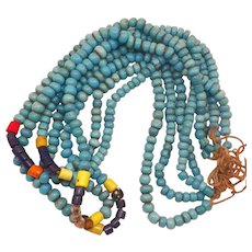 Vintage African Four Strand Turquoise Glass Trade Bead Necklace