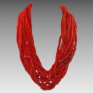 Vintage African Coral Glass Trade Bead Torsade Necklace 13 Strands
