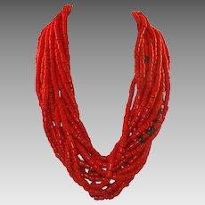 Vintage African Coral Glass Trade Bead Torsade Necklace 13 Strands