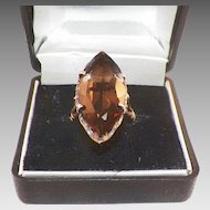 Vintage Smoky Quartz Marquis Cut Sterling Ring 7.5