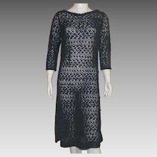 Vintage 1960s Black Ribbon Dress Bergdorf Goodman