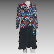 Vintage 1980's Hans Michael Mohr Silk Dress Size 42