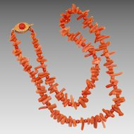Vintage Italian Branch Coral Necklace With 800 Silver Clasp