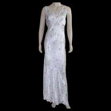 Vintage 1930's Rayon Bias Cut Floral Nightgown