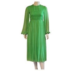 Vintage 1960's Malcolm Starr Lime Green Silk Chiffon Evening Dress - Red Tag Sale Item