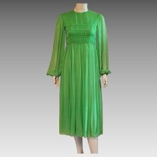 Vintage 1960's Malcolm Starr Lime Green Silk Chiffon Evening Dress