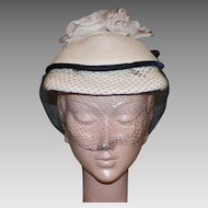 Vintage 1950's Straw Hat With White Silk Roses, Black Netting and Velvet