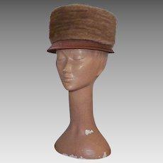 Vintage 1960's Mink Hat With Dark Peach Satin