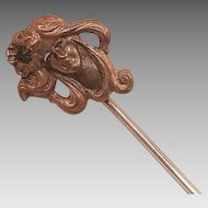 Art Nouveau Stickpin With Woman's Head and Flower In Hair