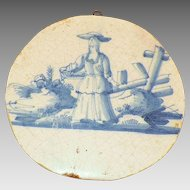 Antique 18th Century Delft Round Tin-Glazed Tile