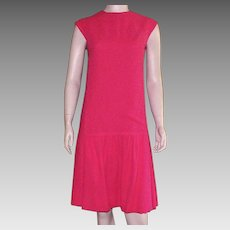 Vintage 1950's Jerry Parnis For Miss Martini Red Wool Crepe Dress