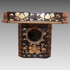 Vintage Asian Gold and Black Lacquerware Incense Burner