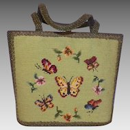 Vintage Needlepoint Purse Butterfly Motif