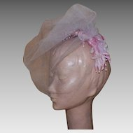 1950's Pink Velvet Head Band Hat With White Veil and Silk Flowers