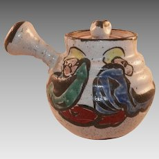 Antique Japanese Hand Painted Pottery Teapot