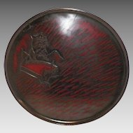 1950's Japanese Kamakura Red Black Carved Lacquerware Tray Signed