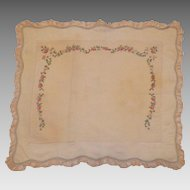 Vintage French Silk Boudoir Pillow Cover With Tambour Embroidery