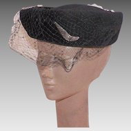 Vintage 1950's Navy Blue Velour Hat With Netting and Satin Bow