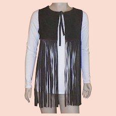 Vintage 1970's Brown Buckskin Hippie Vest With Long Fringe Made In Spain