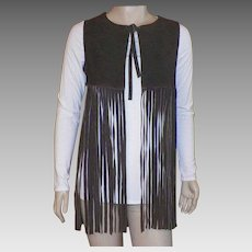 Vintage 1970's Brown Suede Hippie Vest With Long Fringe Made In Spain