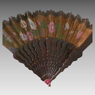 Vintage Black and Gold Hand Painted Silk Fan With Lace