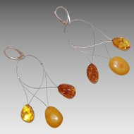 Three Color Amber Dangle Earrings