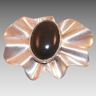 Mexican Sterling and Black Onyx Pin