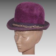 Vintage 1960's Musketeer Purple Fur Felt Hat Made In Austria