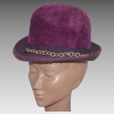 Vintage 1960's Musketeer Purple Fur Felt Hat Made In Austria