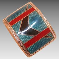 French Art Deco Guilloche Enamel Belt Buckle Signed