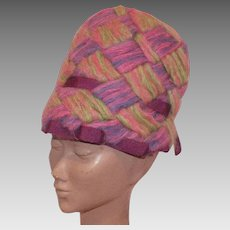 Vintage 1970's Mod Mr. John Jr. Mohair Hat Pink Purple Green