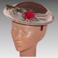 Vintage Luci Puci Gray Velvet Hat With Feathers 1950's 60's