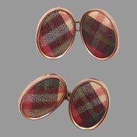 REDUCED Edwardian Scottish Tartan Plaid Cufflinks