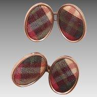 Edwardian Scottish Tartan Plaid Cufflinks