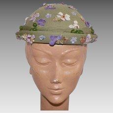1950's Louise Original Seafoam Green Silk Chiffon Hat With Purple Flowers