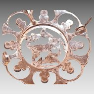 Vintage Sterling Marcasite Turquoise Gazelle Pin / Pendant