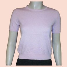 Baby Pink Cashmere Short Sleeve Sweater By TSE