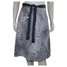 Vintage 1970's Op-Art Black and White Wool A-line Skirt With Belt - Red Tag Sale Item