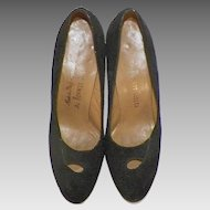 1940's Italian Hand Made Black Suede Pumps Shoes For Bonwit Teller