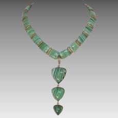 Vintage Malachite Glass Necklace Made In Austria