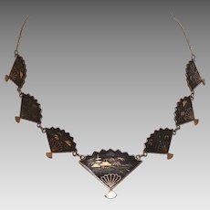 Vintage 1920's Japanese Damascene Fan Necklace
