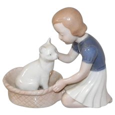 Bing and Grondahl Denmark Girl With Cat In Basket Figurine
