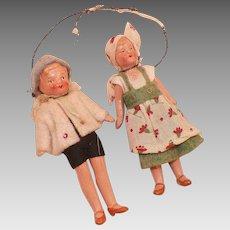 Vintage Pair Of German Miniature Painted Porcelain Dolls