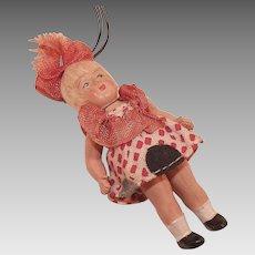 Vintage Miniature Celluloid Doll Ornament