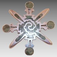 Vintage Miguel Melendez Mexican Sterling and Inlaid Stone Pin / Pendant