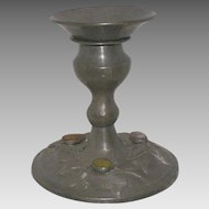 Vintage Chinese Pewter Candlestick With Cabochon Stones
