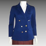 Vintage 1960's Jaeger London Navy Wool Double Breasted Jacket