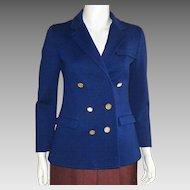 Vintage 1960's Jaeger London Navy Wool Double Breasted Jacket