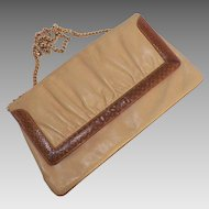 Vintage Susan Gail Leather Purse With Snakeskin Trim